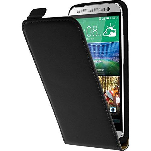 PhoneNatic Kunst-Lederhülle kompatibel mit HTC One E8 - Flip-Hülle schwarz + 2 Schutzfolien