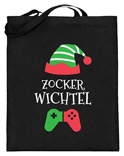 generisch Zocker Wichtel Kostüm Gamer Elf zocken Weihnachten Stofftasche Weihnachtself - Jutebeutel (mit langen Henkeln) -38cm-42cm-Schwarz