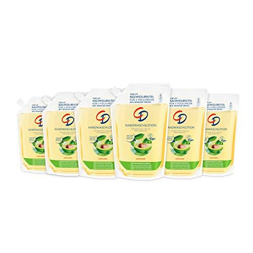 CD Handwaschlotion 'Avocado' im Nachfüllbeutel, 6 x 500 ml, feuchtigkeitsspendende Waschlotion, auch zur Gesichtsreinigung, frischer Duft, seifenfreie & vegane Körperpflege