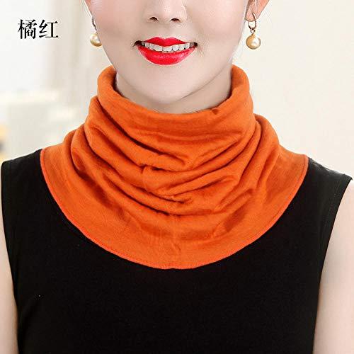 ZAMi Damen Wollschal Winter Wärme Kapuzenkragen hoher Kragen gefälschter Kragen kalt gestrickter Schal-Orange