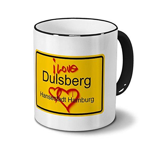 Städtetasse Dulsberg - Hansestadt Hamburg - Design Ortsschild Graffiti - Stadt-Tasse, City-Mug, Becher Schwarz
