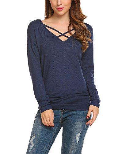 Unibelle Damen Strickpullover Herbst Sweatshirt mit Schnürung Bluse Pullover Navy blau L