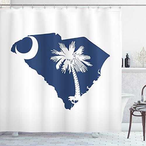 Lunarable South Carolina Cortina de ducha, diseño de bandera de Palmetto State y mapa, palmera y media lunar, tela de tela de baño con ganchos, 70 pulgadas de largo, azul cobalto y blanco