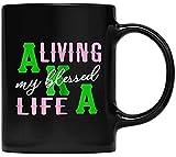 Womens AKA Mug, Present For AKA Sorority Alpha Kappa, Living Blessed