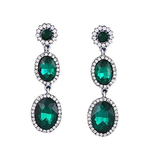 Orecchino Earrings Orecchini Europa e Stati Uniti diamante antiallergico hot-filato ago orecchio cristallo lungo orecchini geometrici orecchini, verde