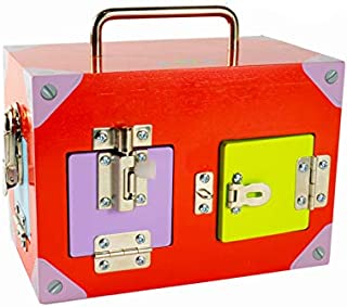 Wooden Colourful Lock Activity Box with Key