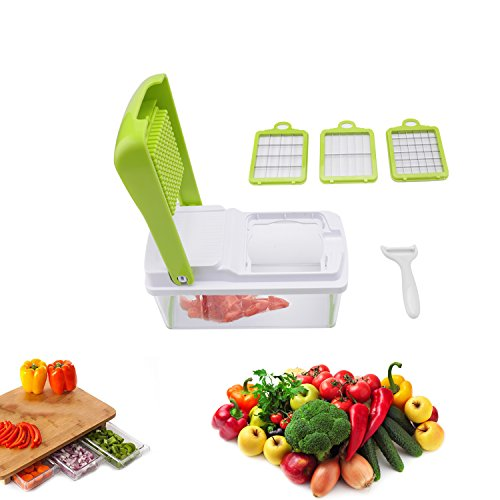 Best Vegetable Chopper Veggie Fruit Dicer - Food Cutter with 3 Interchangeable Blades, Perfect for Potato Tomato Onion Carrot Salad Cucumber