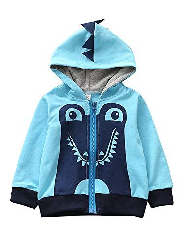 Garsumiss Kids Hooded Jungen Pullover Dinosaurier Sweat Shirt Headwear Jacke (7-8 Jahre, Blau)