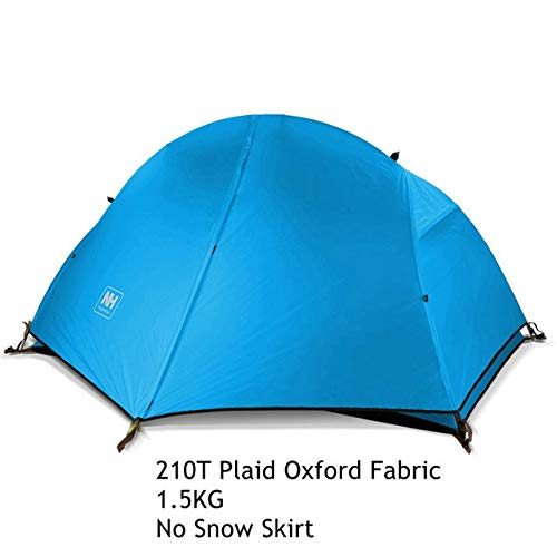 Mdsfe 1.3KG Naturehike Tent 20D Silicone Fabric Ultralight 1 Person Double Layers Aluminum Rod Hiking Tent 4 Season With Camping Mat-Blue210T Fabric