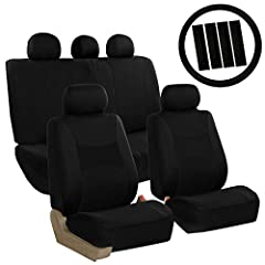 Includes 2 front bucket, 1 set rear bench, 1 steering wheel cover, 4 seatbelt pads and 5 headrest covers Materials are made from durable & comfortable breathable flat cloth - easy to clean machine washable, air dry Concealed Velcro opening and adjust...