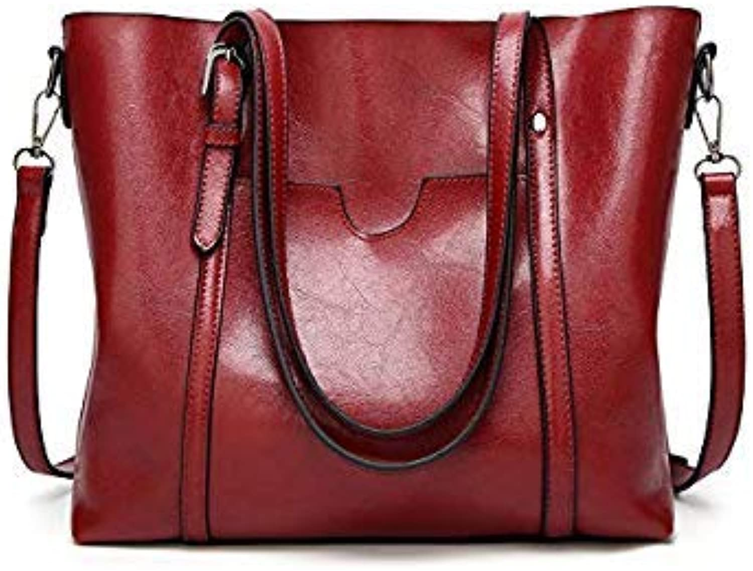Bloomerang Herald Fashion Large Capacity Women Tote Bag High Quality Leather Female Shoulder Bag Causal Women Handbag Lady's Messenger Bags color Red 32x12x26cm