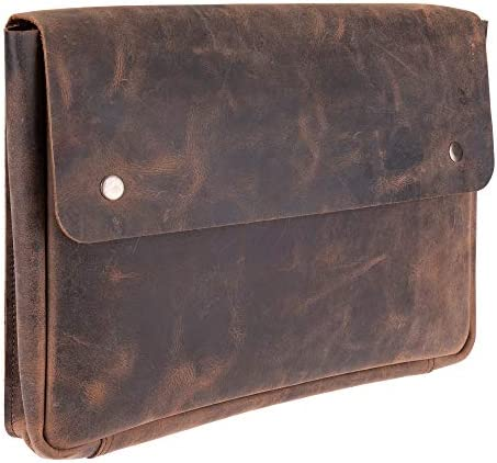 Genuine Leather Laptop Bag Portfolio Sleeve Spacious Handmade Strapless Design Distressed Rustic product image