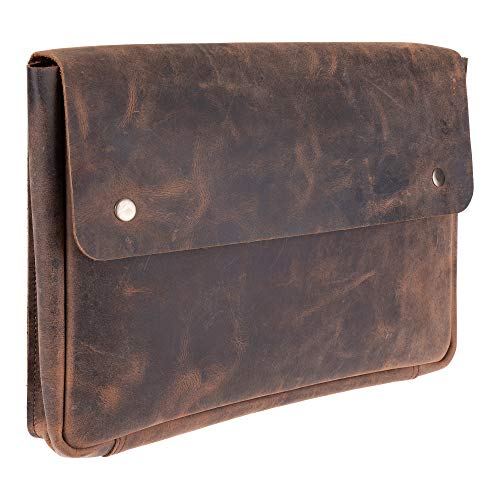 "Genuine Leather Portfolio Folder & Laptop Bag – Spacious, Handmade Strapless Design – Distressed, Rustic Buffalo Leather Folder Holder – Perfect for 15"" Laptops & Tablets"