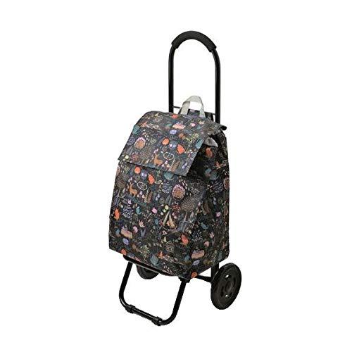 ほのぼのしたかわいいプリント入りのカート CHARMISS ショッピングカート メルヘンチック柄 15-5016 ブラック 〈簡易梱包