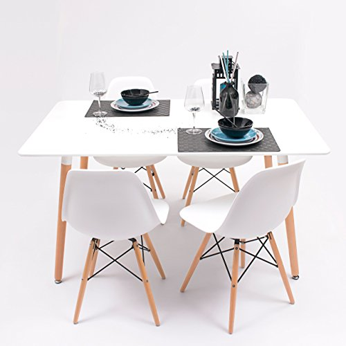 Conjunto de Comedor Tower con Mesa lacada Blanca y 4 sillas, de diseño nórdico (140x90, Blanco)