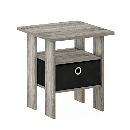 Furinno 11157GYW/BK End Table Bedroom Night Stand w/Bin Drawer, French Oak Grey/Black
