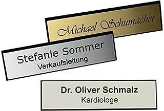 Schmalz Werbeservice Plástico Nombre con Borde Facetado Incl. Grabado Aguja, Color Plata, Oro o Blanco Grabado Placas Iden...