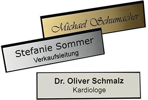 Schmalz Werbeservice Kunststoff Namensschild mit facettiertem Rand incl. Gravur Magnet silberfarbig, goldfarbig oder Weiss graviert Namensschilder mit Facette Magnet (Silber, 64 x 16 mm)
