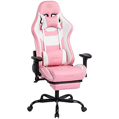 Kasorix Sedia da gamer ergonomica rosa con braccioli regolabili, sedia per computer, per ragazze e donne, ufficio Gaming Chair 8512 (PINK-8512)