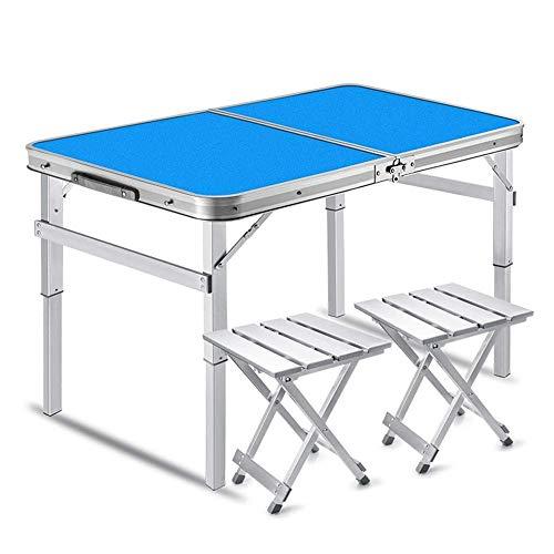 YYhkeby Mesa de Picnic Ajustable, Mesa de Camping Plegable con 2 sillas, Mesa de Camping de Aluminio Ligero, Altura Ajustable (Juegos de Escritorio) Jialele