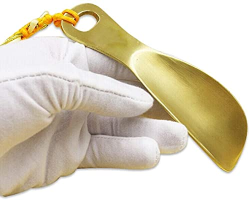 Cuernos para Zapatos Metal Cobre Cuerno para Zapatos Mango Corto Ayudante para Zapatos para Adultos Niños Ancianos Cuerno Largo para Zapatos de 14 cm (Color: Oro, Tamaño: 1 (Zapato)