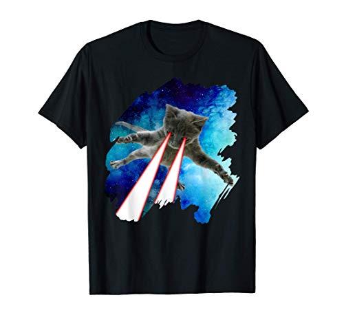 Weltraum Katze mit Laser Augen T-Shirt