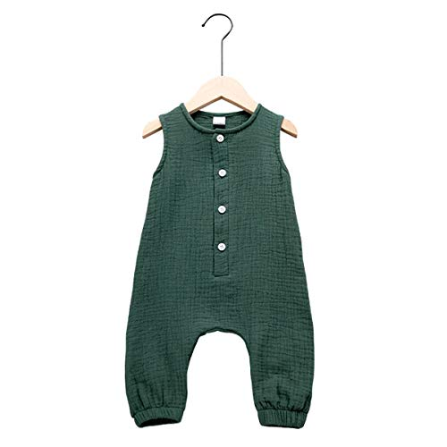 Arleysh Newborn Baby Girl Romper Jumpsuit Cotton Linen Sleeveless Ruffled Bodysuit Infant Summer Clothes Outfits (Green, 12-18 Months)