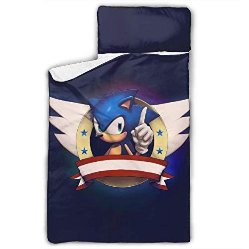 DSFAA Sonic The Hedgehog Nap Mat Convient aux Sacs de Couchage pour garçons et Filles Conçus pour s'adapter à Un lit de bébé Standard Idéal pour Les garderies préscolaires ou maternelles