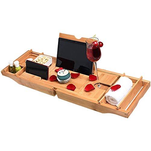 LDL Badewanne, Bad Caddy Bath Rack, einstellbares Bambusbad-Tablett mit Telefonhalter und Weinglashalter für die meisten Badewannen und Holzfass