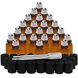 Belle Vous Roll On Huiles Essentielles (Lot de 24) - Flacon en Verre Ambré de 3 ml - Flacons Vides Rechargeables avec Bille en Inox et Pipettes à Huile, Parfum et Aromathérapie