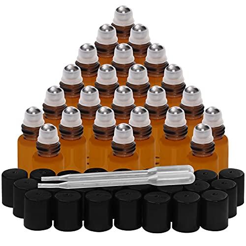 Belle Vous Botella Roll On Ámbar (Pack de 24) 3 ml Frascos de Vidrio Bola Acero Inoxidable – Para Aceites Esenciales, Aromaterapia, Bálsamo Labial, Fragancia - Frasco Perfume Recargable