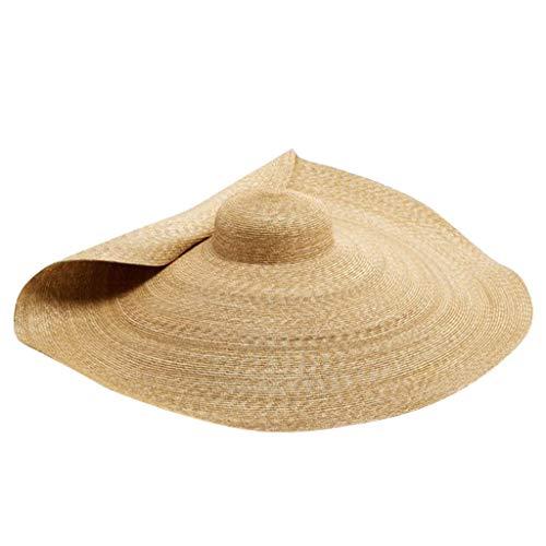 Sisit Sombrero para el sol, Sombrero de paja de playa plegable súper grande, Sombrero de paja de playa grande y resistente al sol Protección contra rayos ultravioleta Cubierta de tapa de paja plegable