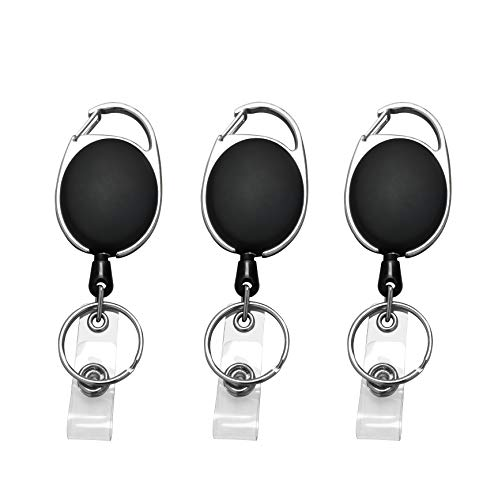JIKIOU Retractable Badge Reel with Carabiner Belt Clip and Key Ring for ID Card Key Keychain Badge Holder Black 3 Pack