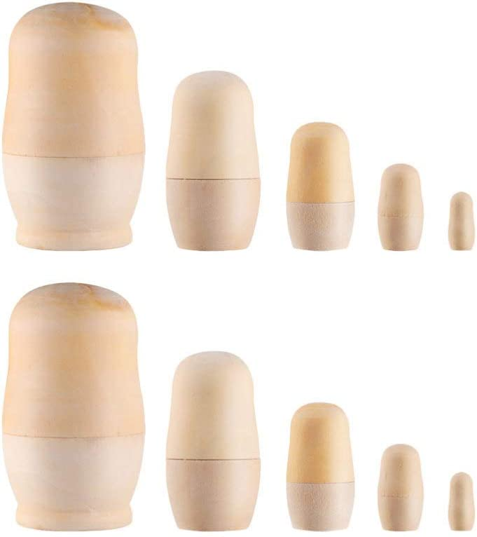 Toyvian Unpainted Russian Nesting Doll Sets OFFicial mail order DIY 10pcs 2 Wooden service