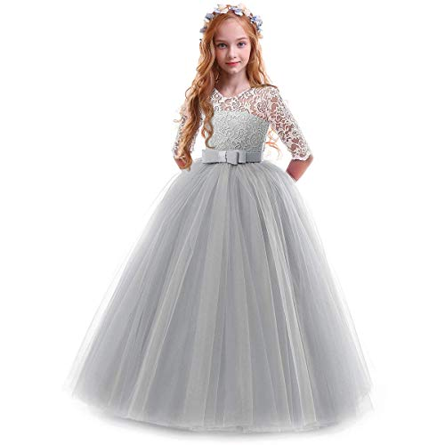 IBTOM CASTLE Spring Flower Girl Wedding Bridesmaid 3/4 Sleeves Kids Floral Lace Pageant Communion Princess Dress Prom Evening Dance Gown Gray 11-12 Years