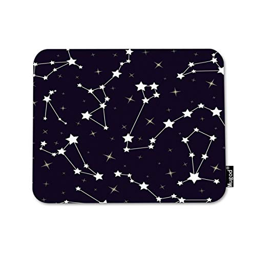 Mugod Stars Mouse Pad Beautiful Cosmic Space Astronomy Stars Constellations on Night Starry Sky Decor Gaming Mouse Pad Rectangle Non-Slip Rubber Mousepad for Computers Laptop 7.9x9.5 Inches