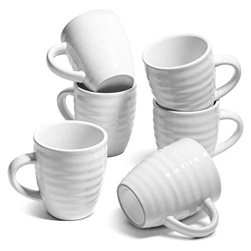 ComSaf Ceramic Coffee Mugs Set of 6, 15 oz Large Coffee Mug Tea Cup for Office Home, Porcelain Mug with Handle for Cocoa Cappuccino Cereal, Novelty Mug as Christmas, White