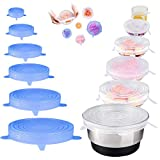 12 PCS Silicone Stretch Lids, AUSSUA Reusable Durable Food Storage Covers for Bowl, Eco Lids, 6 Different Sizes to Meet Most Containers, Silicone Covers for Fresh Food & Leftovers - Keep Food Fresh