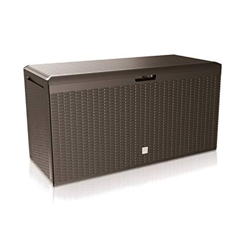 Prosperplast Boxe Rato Plus Gartenbox Aufbewarung Aufbewahrungsbox Rattan 290L Tarrase (Umbra)