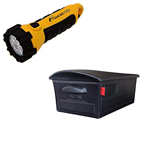 Toucan City LED Flashlight and Gibraltar Mailboxes Mailsafe Large, Plastic, Locking, Post Mount Mailbox, Black RSKB0000