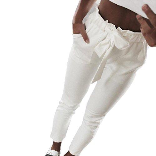 ASHOP Damen Hose, Beiläufige High Waist Freizeithose Casual Lange Hose Streetwear Outdoorhose Haremshose Aladinhose Yogahose Strecken Sporthose |2 Unifarben Elegant (Weiß,XL)