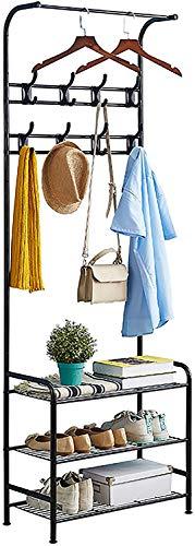 Perchero de pie de metal con zapatero, 3 estantes, con 8 ganchos desmontables para ropa, sombreros, bufandas, bolsos, paraguas, 2 estantes.