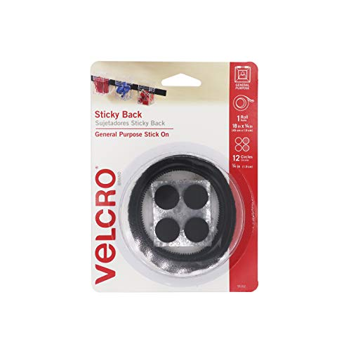 VELCRO Brand - Sticky Back Hook and Loop Fasteners | Perfect for Home or Office | 18in x 3/4in Tape, 3/4in Coins | Black (95152W)