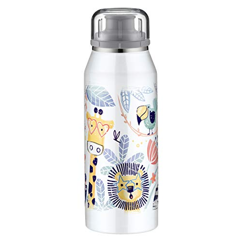 alfi Trinkflasche für Kinder 350ml, isoBottle Jungle, Thermosflasche, Edelstahl Isolierflasche auslaufsicher, Wasserflasche 5677.201.035, Thermoskanne 12 Stunden heiß, 24 Stunden kalt, BPA Frei