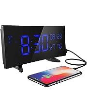 目覚し時計 置き時計 アラーム デジタル 六段輝度調整 三段音量調整 温度/湿度計付き 大音量 大型LED 週末モード 12/24H USB給電