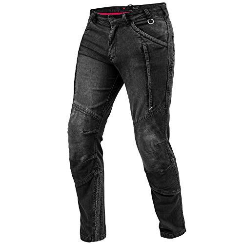 SHIMA Ghost Jeans Moto Uomo - Pantaloni Biker Ventilato Elastico vestibilità Slim con Rinforzi in Kevlar, Protezioni CE per Ginocchia (Nero, 32)