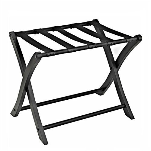 SH-xlj Foldable Luggage Rack, Wooden Foldable Suitcase Rack as Luggage Support Stand Tray Stand Suitcase Shelf Backpacks Organiser Black 66 * 50 * 50CM