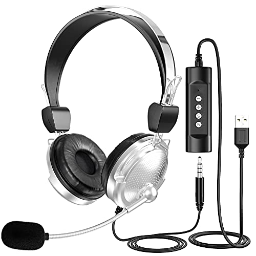 Cuffie USB per computer con microfono per laptop, Newaner con cancellazione del rumore retrattile da 3,5 mm, cuffie cablate leggere, cuffie per PC aziendali per Skype, webinar, call center, scuola