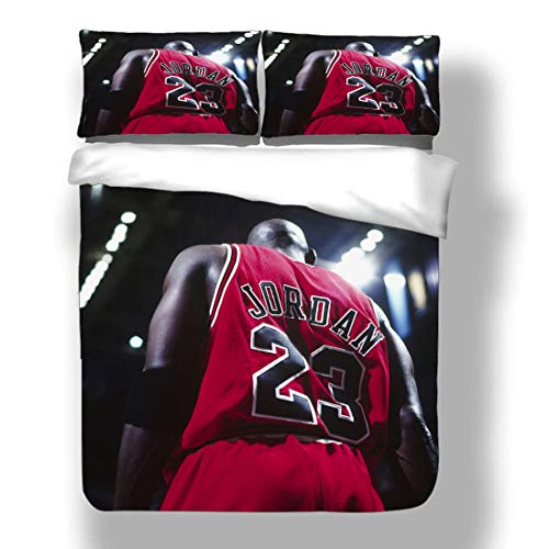 Duvet Cover Set Michael Chicago Basketball Player 23 Bedding Air Jordan Bulls Super Star Hacking Post-Up Play Quilt Coverlet with 2 Pillow Shams Washington MJ His Airness Wizards
