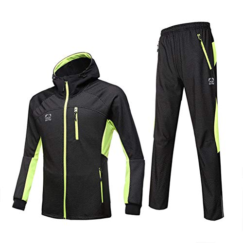 d.Stil Herren Fahrradbekleidung Set Langarm Fleece mit Kapuze Radjacke + Fahrradhose M - 3XL (Grün, L)